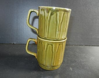 Vintage Staking English Green Ceramic Retro Mugs