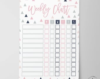 BOY/GIRL Weekly Chart - Chore Chart - To do list - kids instant download