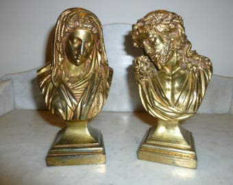 Pair of French gilt bronze bust of Jesus and Mary religious art circa 1890s