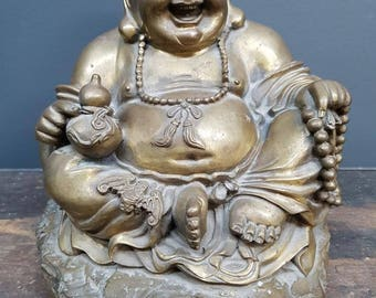 Antique Chinese bronze sculpture of a laughing Buddha - circa 1900s
