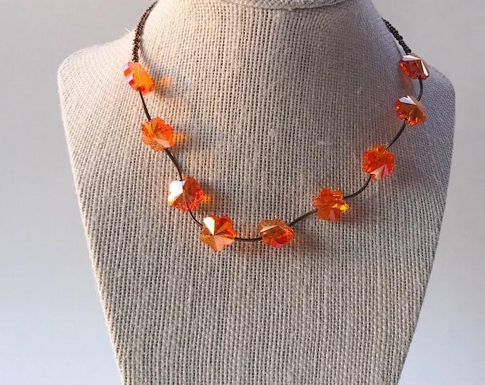 Orange flower necklace, orange necklace, goldstone necklace, brass necklace, beaded necklace, brown necklace, orange crystal necklace