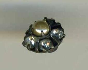 Button Vintage Dimi Glitzy Rhinestones & Pearl w Bkmrk