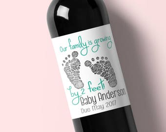 Pregnancy Announcement Wine Label - Announce Pregnancy Wine Label - Pregnancy Reveal - Customized Wine Label - Our Family is Growing