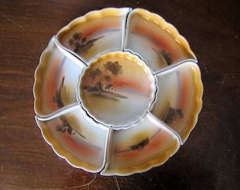 Vintage Noritake 7-Piece Carousel Condiment Set with Storage Box - Lazy Susan - Serving Tray