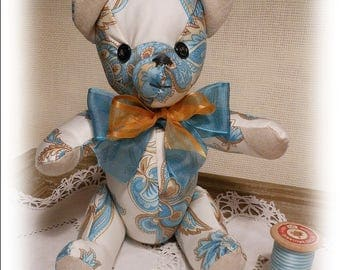 Helene, bear collection in turquoise and white fabric
