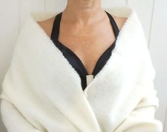 WEDDING SHAWL IVORY Blanket Scarf Wool Braidesmaid Scarfs Ivory White Wool Wrap Oversized Wool Scarf Ivory Bridal Shower Wool Cape Wedding