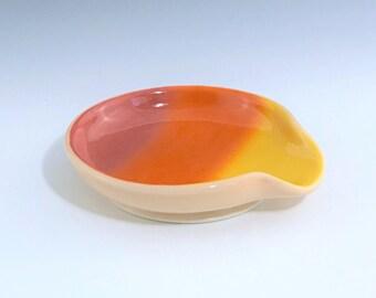 Orange Spoon Rest, Ceramic Spoon Rest, Porcelain Spoon Rest, Orange Yellow Spoon Rest, Ombré Spoon Holder, Wheel Thrown Pottery Spoon Rest