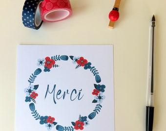 Carte Merci couronne de fleurs - Carte Merci bleu et rouge - Merci - Remerciement - Carte pour dire merci - Fleurs rouge et bleue - Couronne