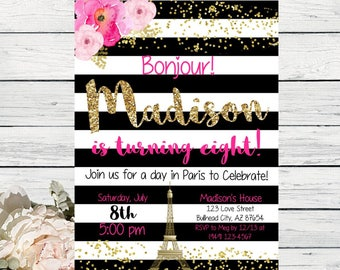 Paris Black & white stripes with peony flowers design personalized invitation- ***Digital File*** (Paris-BWStripe)