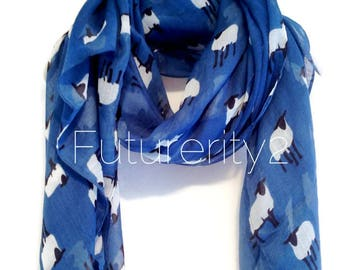 Sheep Navy Blue Autumn / Spring Summer Scarf / Gift For Her / Womens Scarves / Fashion Accessories