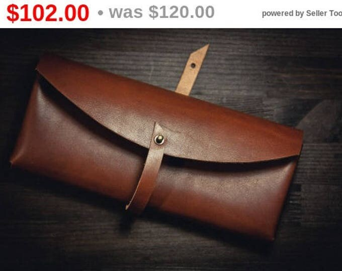 Horween leather clutch/Minimal Leather Clutch/Evening Bag/Brown leather clutch/Classic leather clutch/HandBag