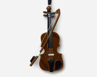SHIPS FREE - Violin Personalized Ornament - Music Lover - Hand Personalized Christmas Ornament