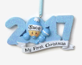Born in 2017 - Baby Boy Personalized Ornament - Baby Boy - Baby's First Christmas - Hand Personalized Christmas Ornament