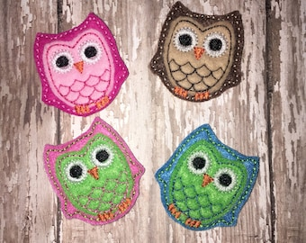 Set of 4 Owl Bird Pink Green Blue Lavender Felties Feltie Felt Embellishment Bow! Brown Owl Fall
