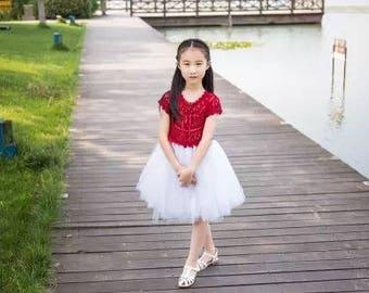 Jane's handmade~girl's sweet tulle/tutu dress~crochet Yoke top combine fluffy tulle skirt~flower girl gown~full layered~tea length~red/white