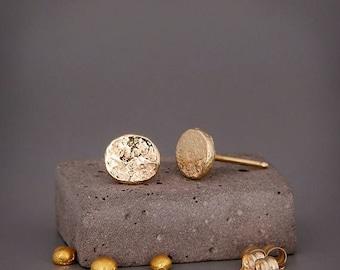 14K Distressed Gold Studs Earrings Handmade solid 14k gold nuggets earrings in distressed gold style 5mm 6mm 7mm   Gift for her
