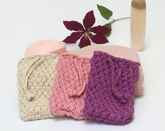 White, Purple, Pink Soap Sack, Soap Bag, Soap Sock, Soap Sachet, Soap on a Rope, Soap Holder, Baby Wash Cloth