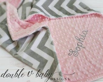 Personalized Baby Blanket, Minky Baby Blanket, Pink and Gray Baby Blanket, Girl Minky Blanket, Girl Baby Blanket