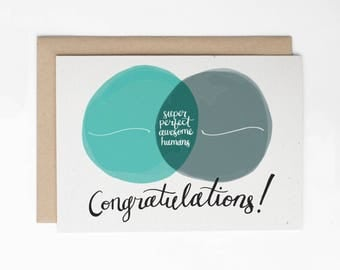 Funny Wedding Card, Super Perfect Awesome Humans, Venn Diagram Card, Card for Couple, Anniversary Card/C-229