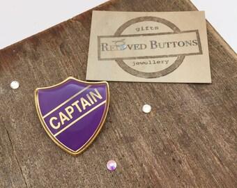 Captain - leadership gifts - lapel pin - teacher gift - school uniform - prefect badge - prefect pin - vintage jewellery - gold brooch - pin