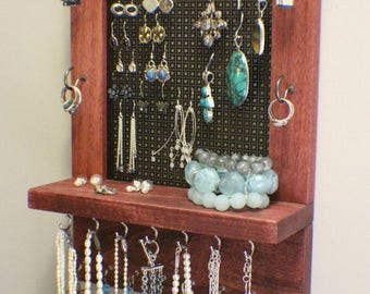 ON SALE Rustic Cabernet and Dark Bronze Wall Mounted Jewelry Organizer, Wall Organizer, Jewelry Display, Necklace Holder, Earring Organizer