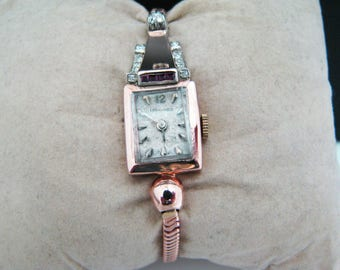 Beautiful Vintage Womens 14k Rose Gold Longines Watch with Diamonds and Ruby