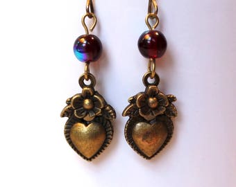 Hearts and Flowers Earrings Antique Brass Finish Pierced Ear Dangle Earrings with Red Beads