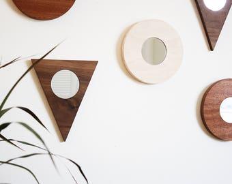 Round Wall Mirror Maple Minimal Modern