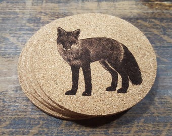 Fox Cork Coasters (Set of Four)
