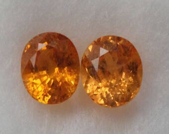 Certified Natural genuine Spessartite Garnets Matching Pair - 2.89ct with Certificate
