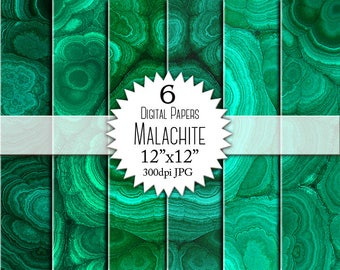 "Paper ""MALACHITE"" Digital Paper for Scrapbooking. Malachite Texture, Pattern. Green Paper Pack. Instant Download"