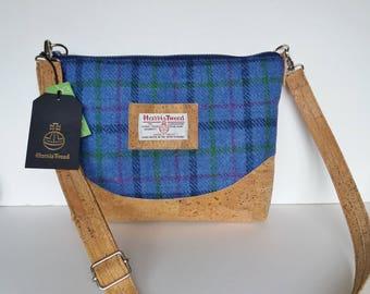 Harris Tweed and Cork  Shoulder Bag / Medium Blue