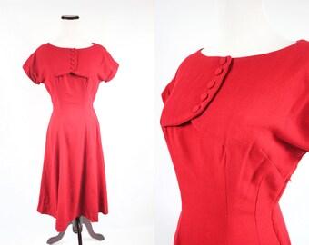 1950's Red Wool Short-sleeve Dress