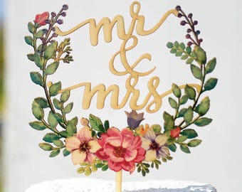 Mr&Mrs Color Flowers Garland Green Leaves Wooden Wedding Cake Topper