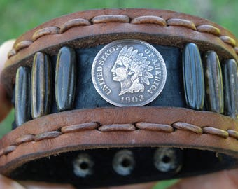Cuff Bracelet wristband Buffalo  Bison Leather wristband vintage Indian Head penny coin bones rustic customize authentic signed   tribal