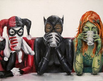 Super Villains Need Coffee -Batman Villains Harley Quinn, Catwoman, Poison Ivy 8x10 Art Canvas Print