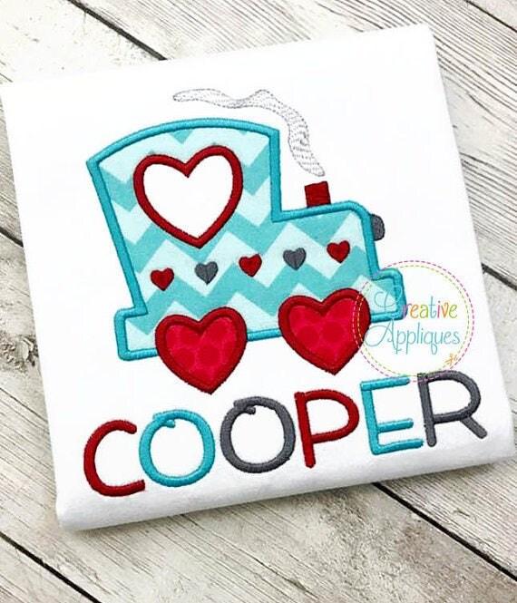 Valentine Train Applique, Train with Hearts Applique, Boy Valentine's Tee, Boy Valentine's Day Shirt, Train with Hearts Tee
