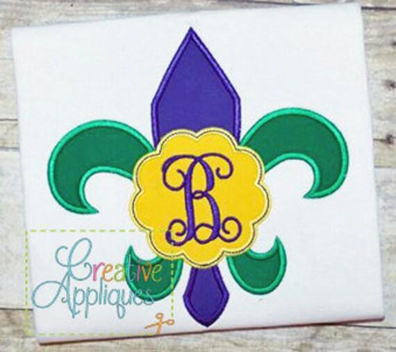 Mardi Gras Monogram Scallop Fleur De Lis Applique, Fleur De Lis Monogram Shirt, Mardi Gras Shirt