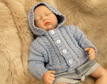 0-3 Month Baby clothes/Reborn Doll Hand Knitted Slate Gray Cabled Hooded Cardigan / Jacket