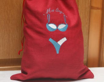 Red linen lingerie bag