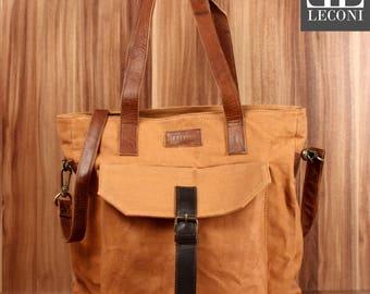 LECONI Shopper Shoulder Bag bag tote bag leather canvas cognac LE0045-C