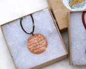 Narnia Necklace Mr Tumnus Tea Party CS Lewis Quote Copper Metal Stamped Jewelry Literary Book Lover Gift Under 30