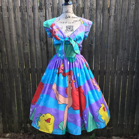 Tie Front Dress Made with Vintage Little Mermaid Sheets