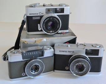 Olympus Trip 35, Penn EE, and Konica C35 2.8 Vintage Camera LOT