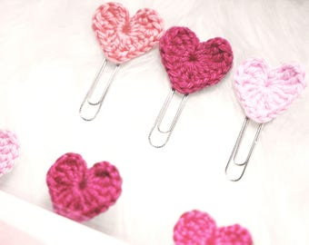 3 crochet heart clips | bookmark | planner clips | bookmarker | paper clips | #gmthearts project | organizing tab | planner accessories