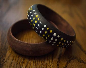 Black Painted and Stained Wood Bangle