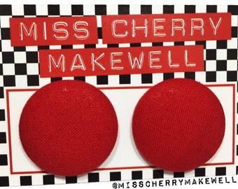 Plain Red Festive Fabric Button Rockabilly 1950's Pin Up Retro Vintage Inspired Stud Earrings By Miss Cherry Makewell