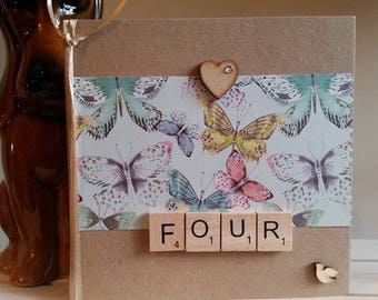 4th Anniversary Card for Wife, Girlfriend, Husband, Boyfriend - Fourth Wedding Anniversary Card - Handmade Card - Butterfly Butterflies