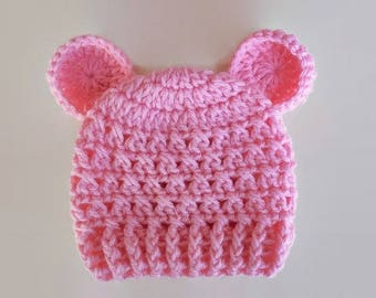 Pink bear hat, newborn girl hat, baby bear hat, baby girl hat, spring baby beanie, newborn outfit girl hospital hat, baby hat with ears