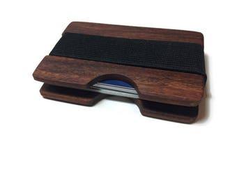 Handmade Granadilo Wood Wallet, Minimal Wallet, Credit Card Holder, Personalized Wallet